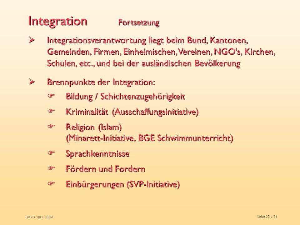 URWI / 08.11.2008 Seite 20 / 26 Integration Fortsetzung Integrationsverantwortung liegt beim Bund, Kantonen, Gemeinden, Firmen, Einheimischen, Vereine