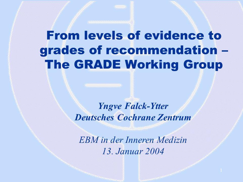 1 From levels of evidence to grades of recommendation – The GRADE Working Group Yngve Falck-Ytter Deutsches Cochrane Zentrum EBM in der Inneren Medizi