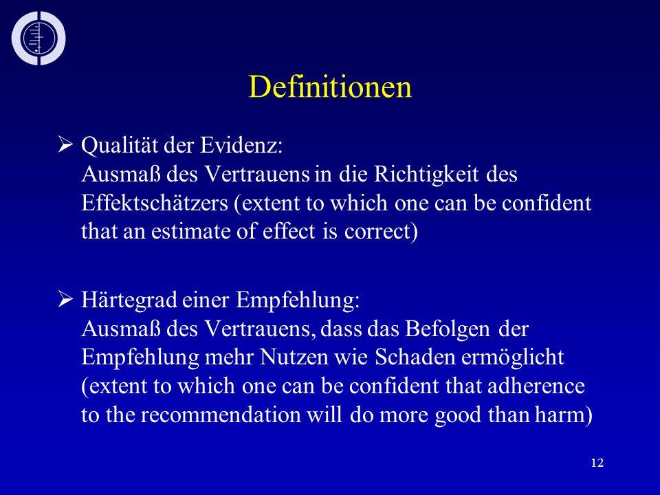 12 Definitionen Qualität der Evidenz: Ausmaß des Vertrauens in die Richtigkeit des Effektschätzers (extent to which one can be confident that an estim