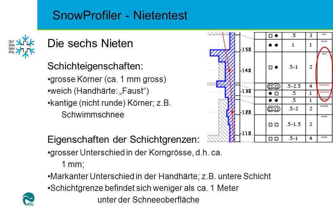 SnowProfiler - Nietentest Die sechs Nieten Schichteigenschaften: grosse Körner (ca. 1 mm gross) weich (Handhärte: Faust) kantige (nicht runde) Körner;