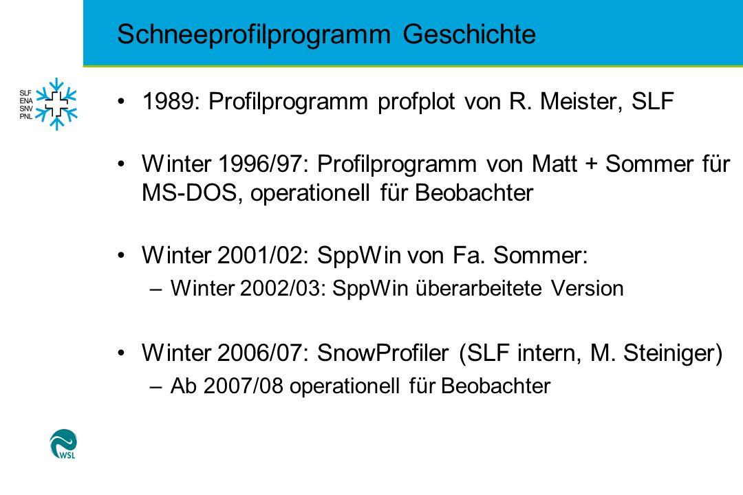 1989: Profilprogramm profplot von R. Meister, SLF Winter 1996/97: Profilprogramm von Matt + Sommer für MS-DOS, operationell für Beobachter Winter 2001
