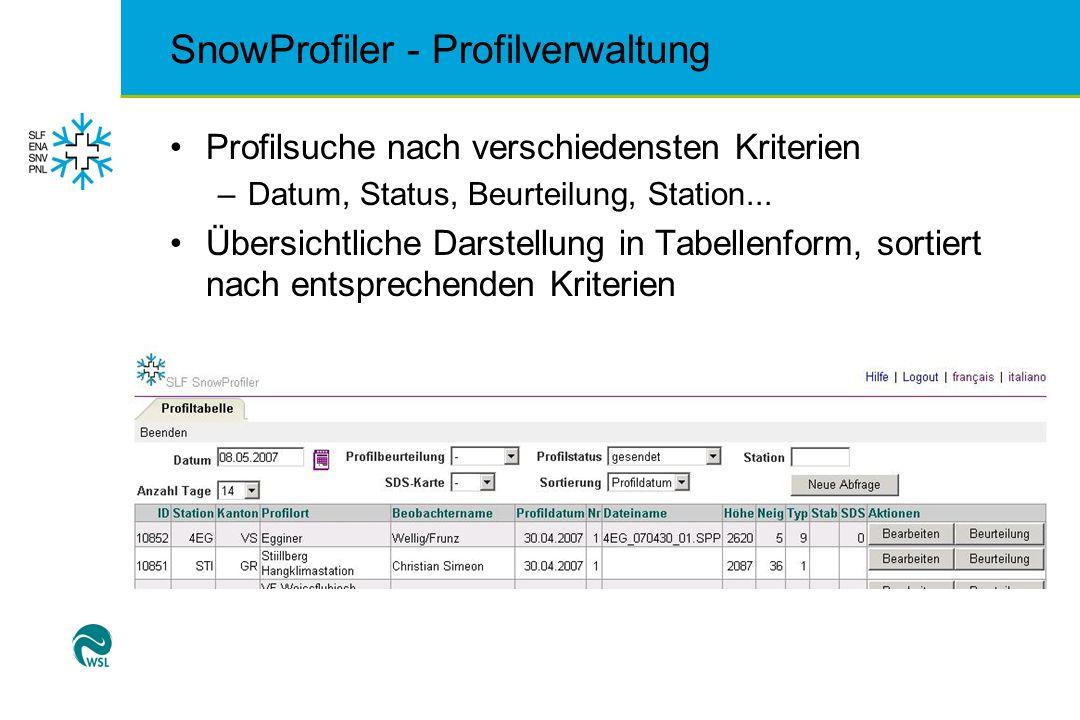 SnowProfiler - Profilverwaltung Profilsuche nach verschiedensten Kriterien –Datum, Status, Beurteilung, Station... Übersichtliche Darstellung in Tabel