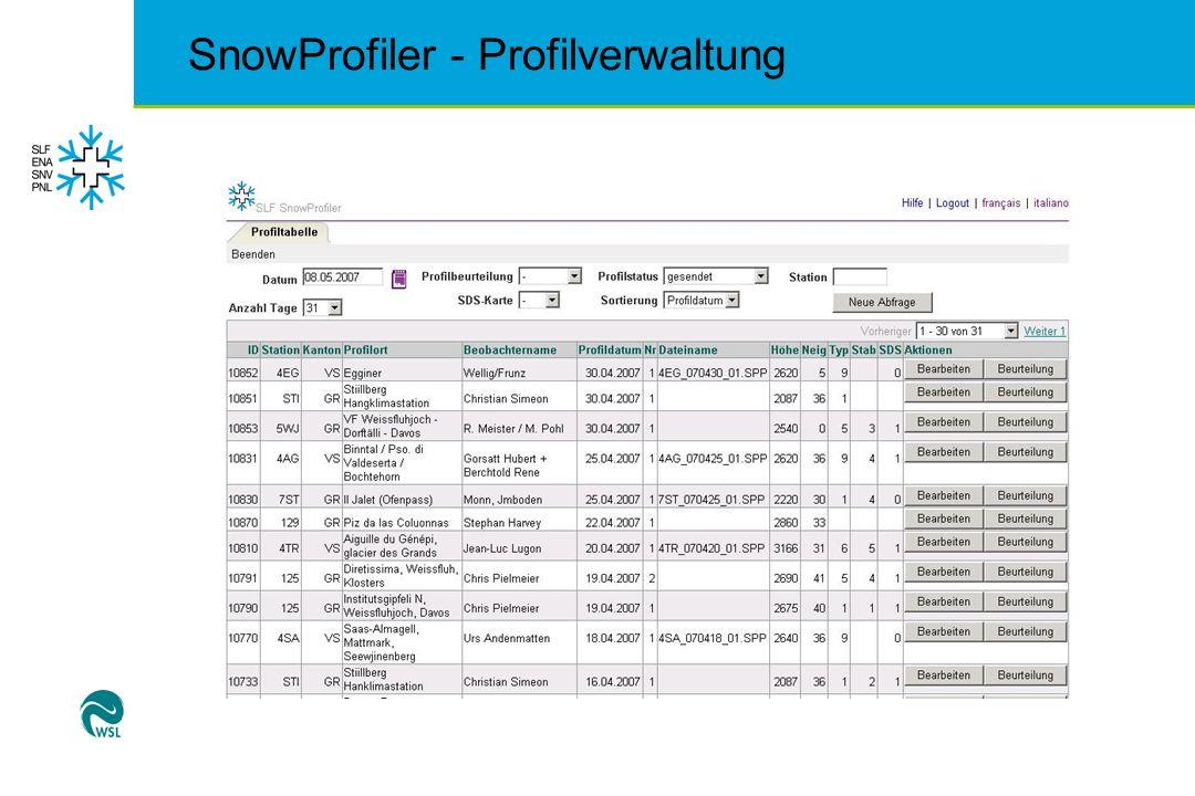 SnowProfiler - Zugriffsrechte Zugriffsrechte auf Profile und Funktionen können eingeschränkt werden Profilaustausch nur in Nachbarregionen Eingeschränkte Zugriffsrechte auf Spezialfunktionen wie CT, Nietentest, Beurteilung von Profile Eigene Profile während einer bestimmten Zeit korrigierbar
