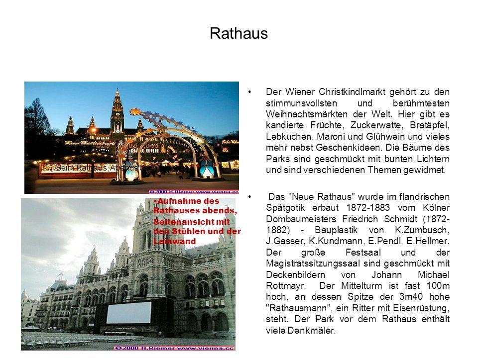 Rathaus Der Wiener Christkindlmarkt gehört zu den stimmunsvollsten und berühmtesten Weihnachtsmärkten der Welt. Hier gibt es kandierte Früchte, Zucker