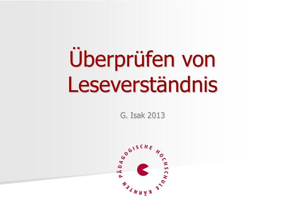 G. Isak 2013 Überprüfen von Leseverständnis