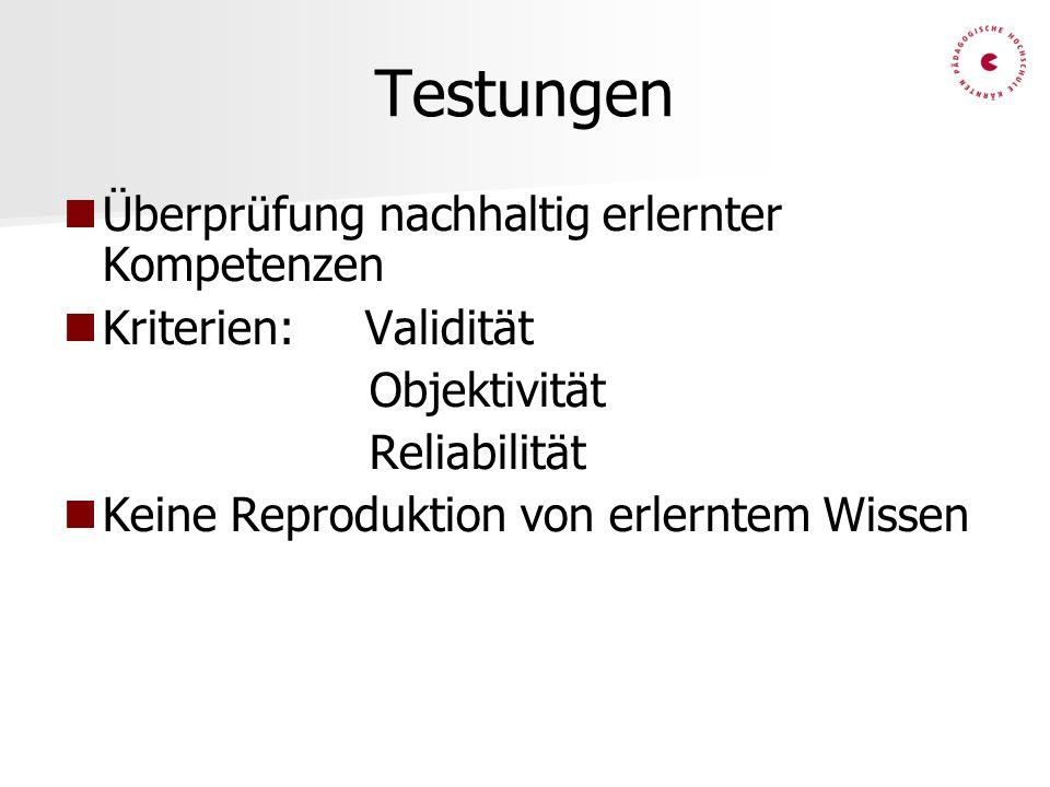 Testungen Überprüfung nachhaltig erlernter Kompetenzen Kriterien: Validität Objektivität Reliabilität Keine Reproduktion von erlerntem Wissen