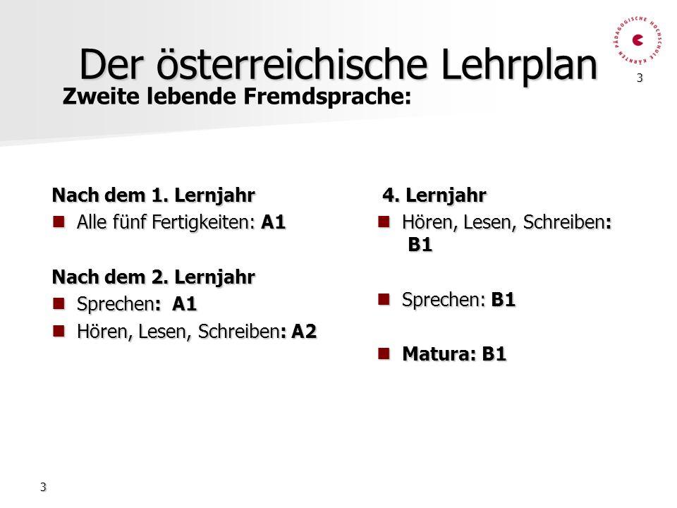 3 3 Der österreichische Lehrplan Nach dem 1. Lernjahr Alle fünf Fertigkeiten: A1 Alle fünf Fertigkeiten: A1 Nach dem 2. Lernjahr Sprechen: A1 Sprechen