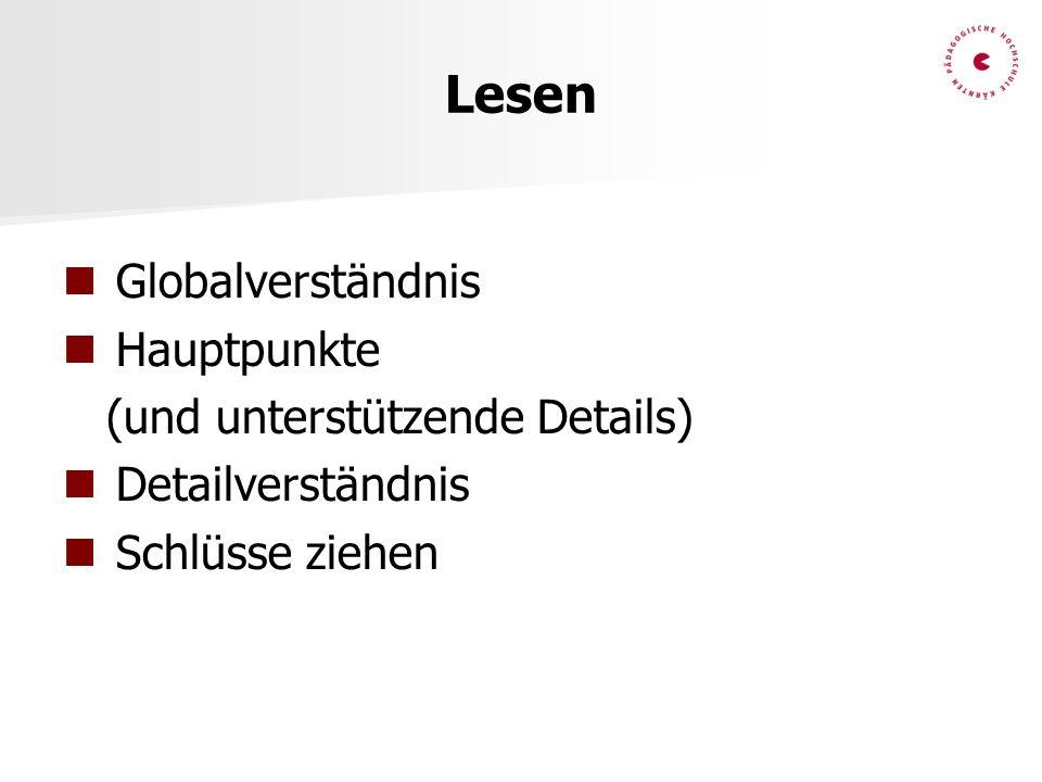 Lesen Globalverständnis Hauptpunkte (und unterstützende Details) Detailverständnis Schlüsse ziehen