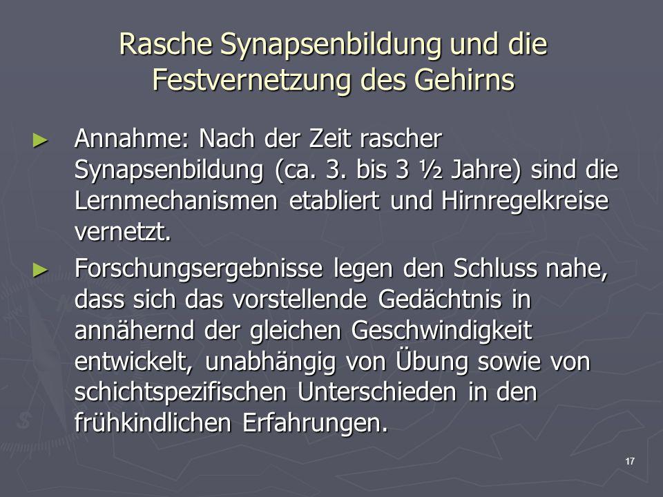 17 Rasche Synapsenbildung und die Festvernetzung des Gehirns Annahme: Nach der Zeit rascher Synapsenbildung (ca. 3. bis 3 ½ Jahre) sind die Lernmechan