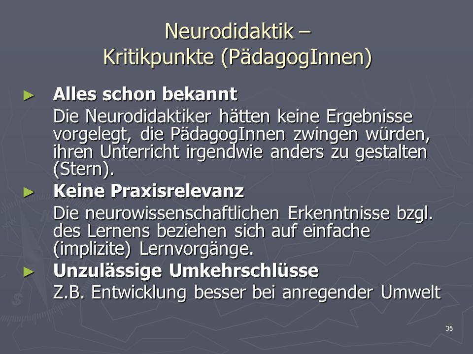 35 Neurodidaktik – Kritikpunkte (PädagogInnen) Alles schon bekannt Alles schon bekannt Die Neurodidaktiker hätten keine Ergebnisse vorgelegt, die Päda