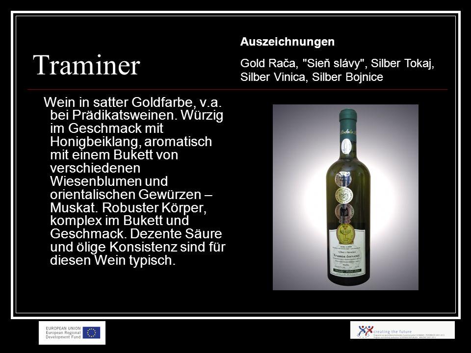 Traminer Wein in satter Goldfarbe, v.a. bei Prädikatsweinen.