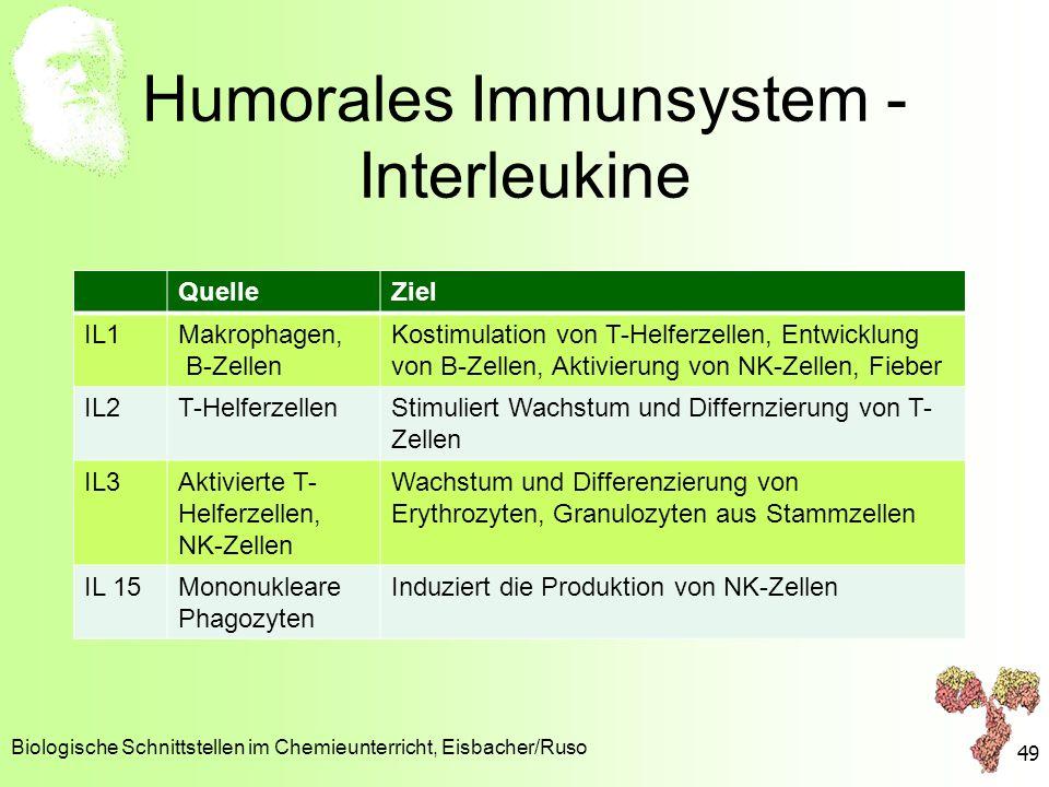 Humorales Immunsystem - Interleukine QuelleZiel IL1Makrophagen, B-Zellen Kostimulation von T-Helferzellen, Entwicklung von B-Zellen, Aktivierung von N