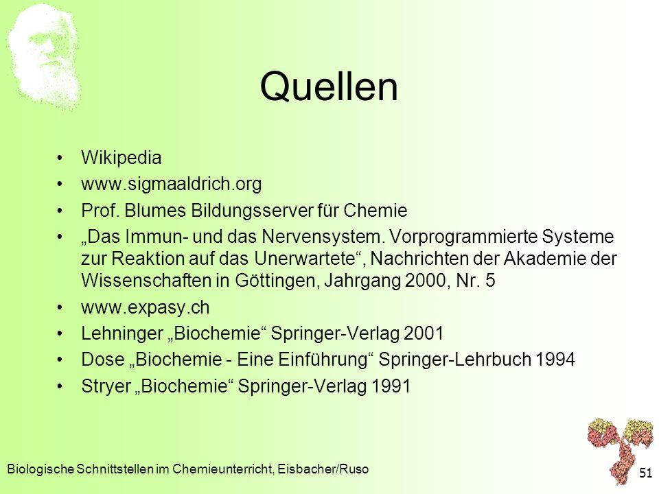 Quellen Wikipedia www.sigmaaldrich.org Prof. Blumes Bildungsserver für Chemie Das Immun- und das Nervensystem. Vorprogrammierte Systeme zur Reaktion a