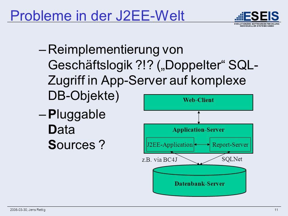 2006-03-30, Jens Rettig11 –Reimplementierung von Geschäftslogik ?!? (Doppelter SQL- Zugriff in App-Server auf komplexe DB-Objekte) –Pluggable Data Sou