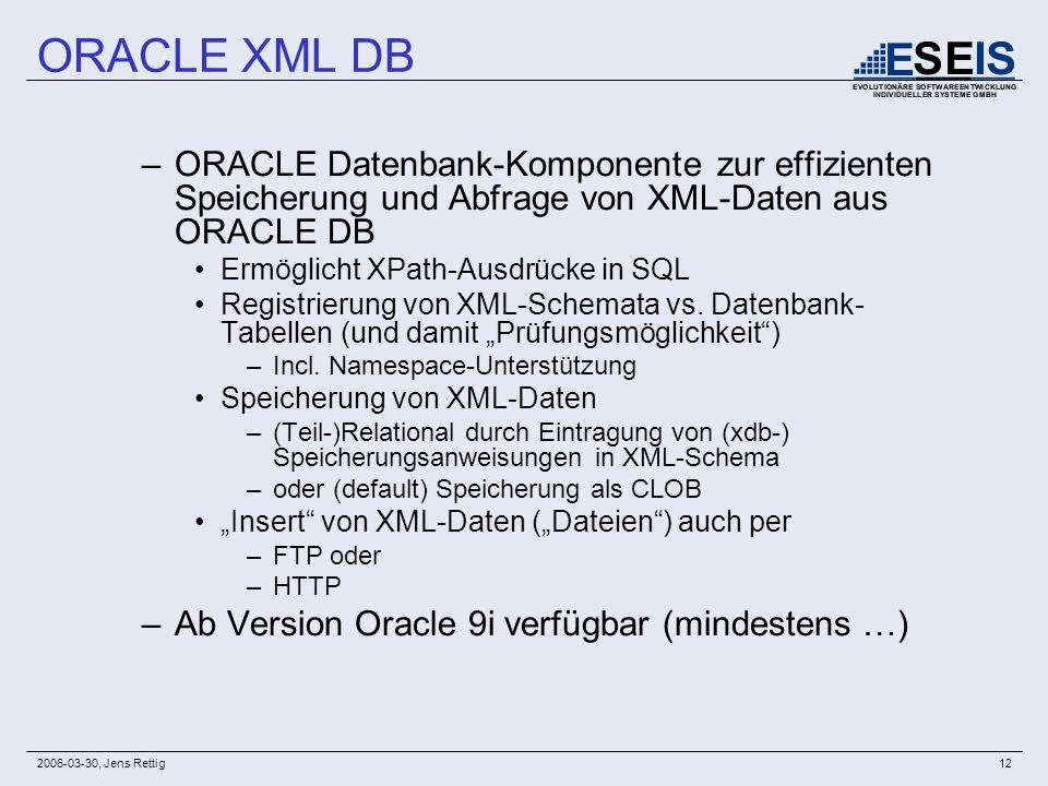 2006-03-30, Jens Rettig12 –ORACLE Datenbank-Komponente zur effizienten Speicherung und Abfrage von XML-Daten aus ORACLE DB Ermöglicht XPath-Ausdrücke