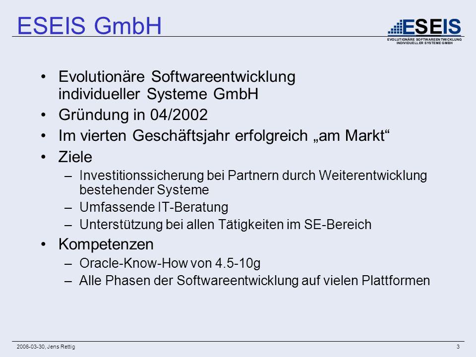 2006-03-30, Jens Rettig3 ESEIS GmbH Evolutionäre Softwareentwicklung individueller Systeme GmbH Gründung in 04/2002 Im vierten Geschäftsjahr erfolgrei