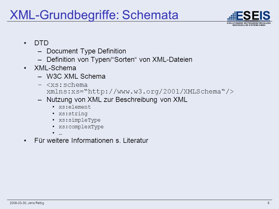 2006-03-30, Jens Rettig5 DTD –Document Type Definition –Definition von Typen/Sorten von XML-Dateien XML-Schema –W3C XML Schema – –Nutzung von XML zur