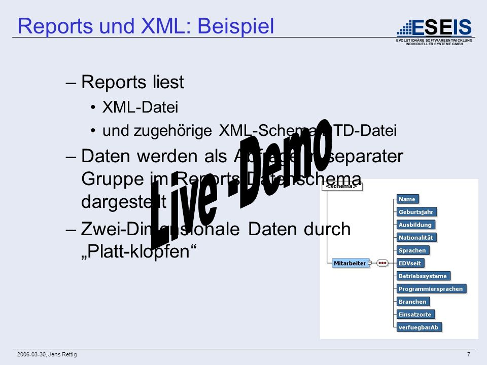 2006-03-30, Jens Rettig18 Event-Driven Publishing XML DB Insert, FTP, WebDav Select Reports EingangDaten Journal Trigger insert into Daten (xmldata) select, extract( OBJECT_VALUE, /Eingang/Daten ).getclobval() DATEN from Eingang v_PList := SRW_PARAMLIST(SRW_PARAMETER( , )); Srw.add_parameter(v_PList, GATEWAY, http://www.eseis.de:7780/reports/rwservlet ); Srw.add_parameter(v_PList, SERVER , rep_druck_queue ); Srw.add_parameter(v_PList, REPORT ,p_report_name); Srw.add_parameter(v_PList, USERID , scott/tiger@eseis_02 ); Srw.add_parameter(v_PList, DESTYPE , file ); Srw.add_parameter(v_PList, DESNAME, /home/oracle/jret_test/drucken/testoutput.pdf ); v_ident := Srw.run_report(v_PList);