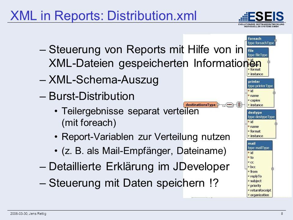 2006-03-30, Jens Rettig8 –Steuerung von Reports mit Hilfe von in XML-Dateien gespeicherten Informationen –XML-Schema-Auszug –Burst-Distribution Teiler
