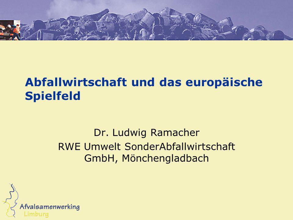 Abfallwirtschaft und das europäische Spielfeld Dr. Ludwig Ramacher RWE Umwelt SonderAbfallwirtschaft GmbH, Mönchengladbach