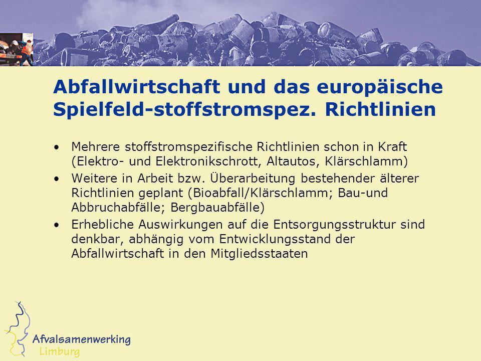Abfallwirtschaft und das europäische Spielfeld-stoffstromspez. Richtlinien Mehrere stoffstromspezifische Richtlinien schon in Kraft (Elektro- und Elek