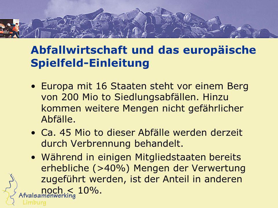 Abfallwirtschaft und das europäische Spielfeld-Einleitung Europa mit 16 Staaten steht vor einem Berg von 200 Mio to Siedlungsabfällen. Hinzu kommen we