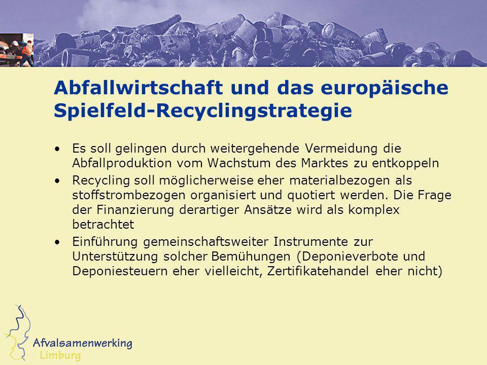 Abfallwirtschaft und das europäische Spielfeld-Recyclingstrategie Es soll gelingen durch weitergehende Vermeidung die Abfallproduktion vom Wachstum de