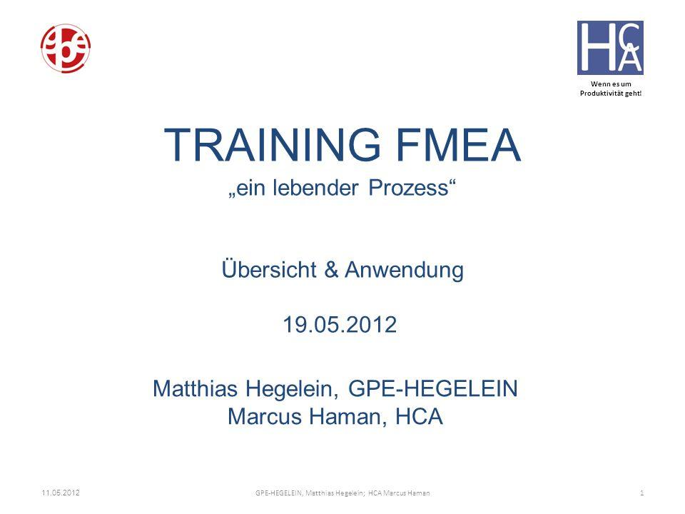 Wenn es um Produktivität geht! TRAINING FMEA ein lebender Prozess Übersicht & Anwendung 19.05.2012 Matthias Hegelein, GPE-HEGELEIN Marcus Haman, HCA 1