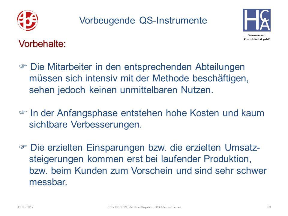 Wenn es um Produktivität geht! 11.05.2012 10GPE-HEGELEIN, Matthias Hegelein; HCA Marcus Haman Vorbeugende QS-Instrumente Vorbehalte: Die Mitarbeiter i