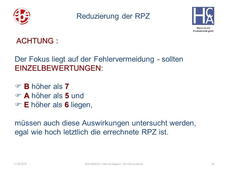 Wenn es um Produktivität geht! 11.05.2012 36GPE-HEGELEIN, Matthias Hegelein; HCA Marcus Haman Reduzierung der RPZ ACHTUNG : EINZELBEWERTUNGEN: Der Fok