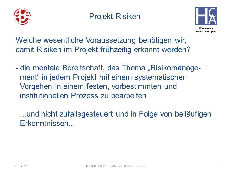 Wenn es um Produktivität geht! ZUNEHMEND KOMPLEX Welche wesentliche Voraussetzung benötigen wir, damit Risiken im Projekt frühzeitig erkannt werden? -