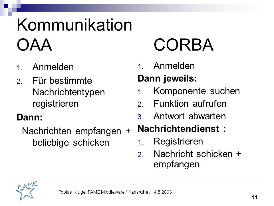 11 Tobias Kluge: FAME Middleware / Karlsruhe / 14.5.2003 Kommunikation OAACORBA 1.