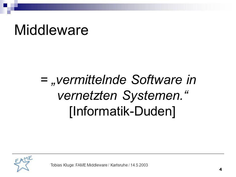 5 Tobias Kluge: FAME Middleware / Karlsruhe / 14.5.2003 Middleware Komponente 1Komponente 2: - Dienst 1 - Dienst 2 Anfrage nach Dienst 2 Antwort Beispielkommunikation