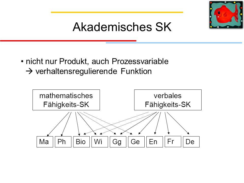 Akademisches SK nicht nur Produkt, auch Prozessvariable verhaltensregulierende Funktion mathematisches Fähigkeits-SK verbales Fähigkeits-SK MaPhBioWiG