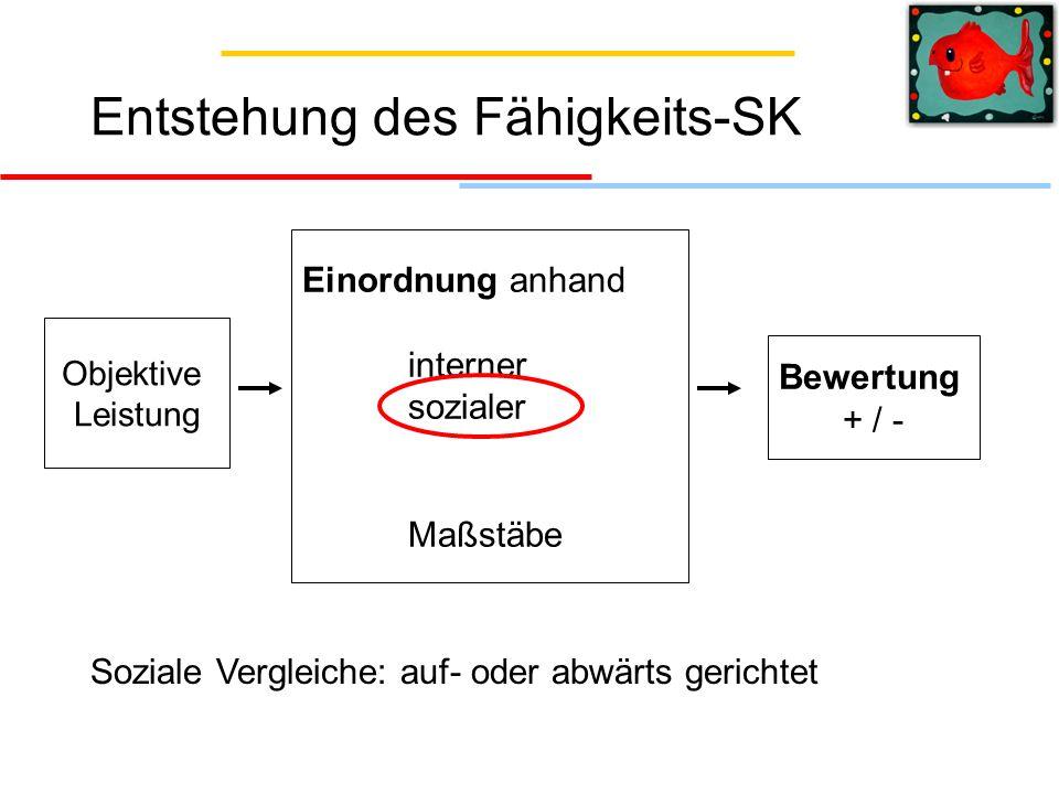 Entstehung des Fähigkeits-SK Objektive Leistung Einordnung anhand interner sozialer Maßstäbe Bewertung + / - Soziale Vergleiche: auf- oder abwärts ger