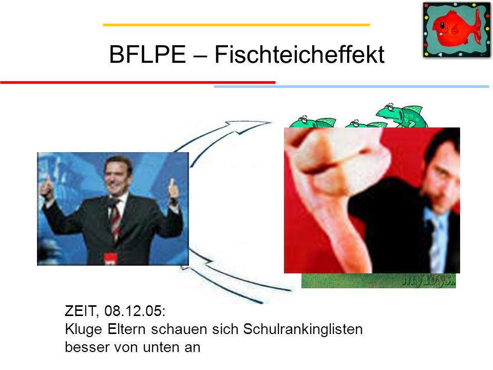 BFLPE – Fischteicheffekt ZEIT, 08.12.05: Kluge Eltern schauen sich Schulrankinglisten besser von unten an