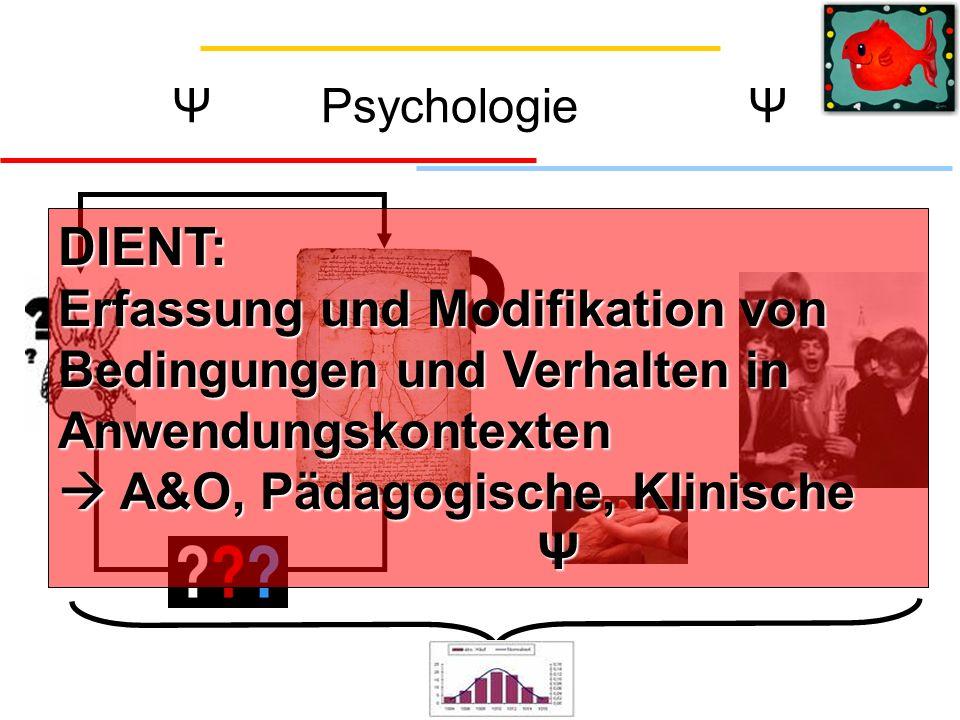 DIENT: Erfassung und Modifikation von Bedingungen und Verhalten in Anwendungskontexten A&O, Pädagogische, Klinische Ψ
