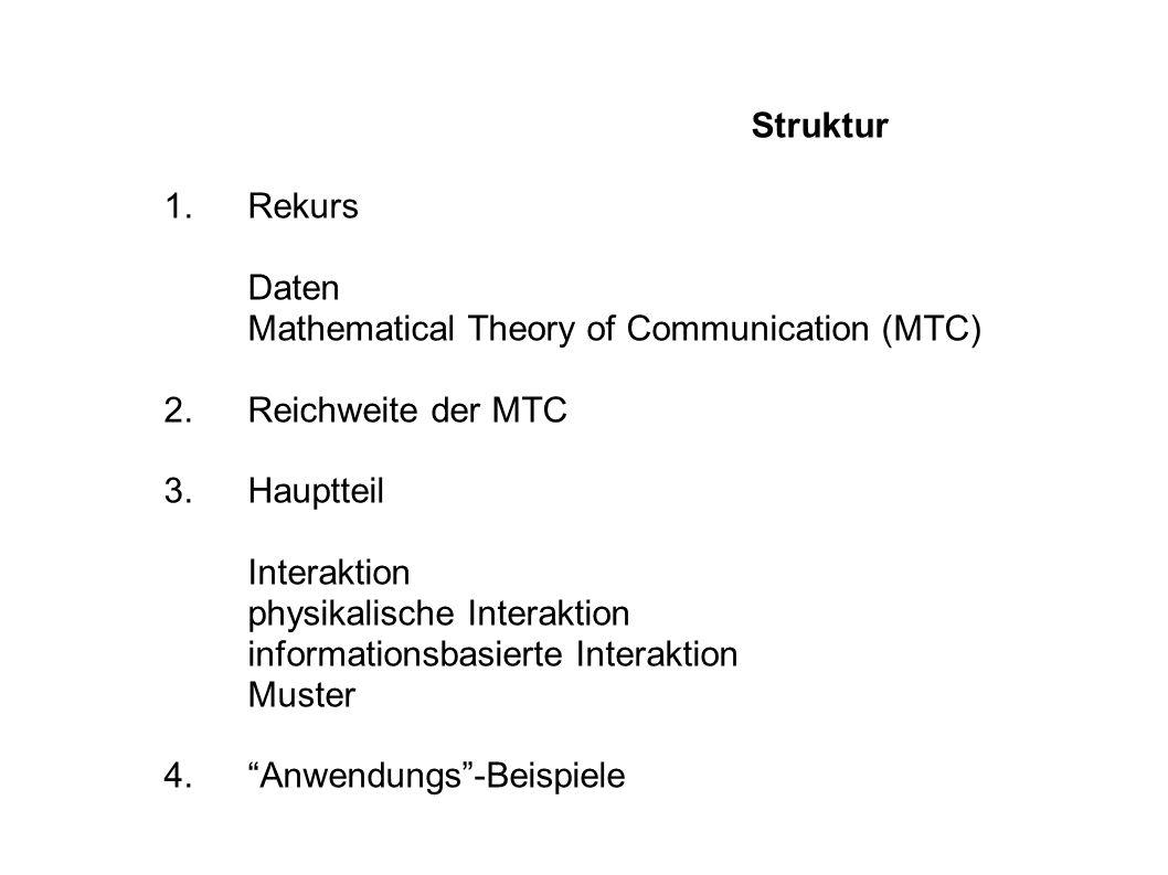 Struktur 1.Rekurs Daten Mathematical Theory of Communication (MTC) 2.Reichweite der MTC 3.Hauptteil Interaktion physikalische Interaktion informationsbasierte Interaktion Muster 4.Anwendungs-Beispiele