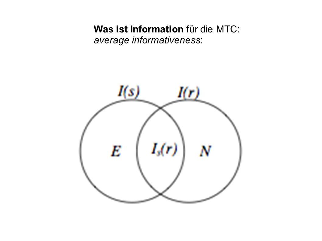 Was ist Information für die MTC: average informativeness: