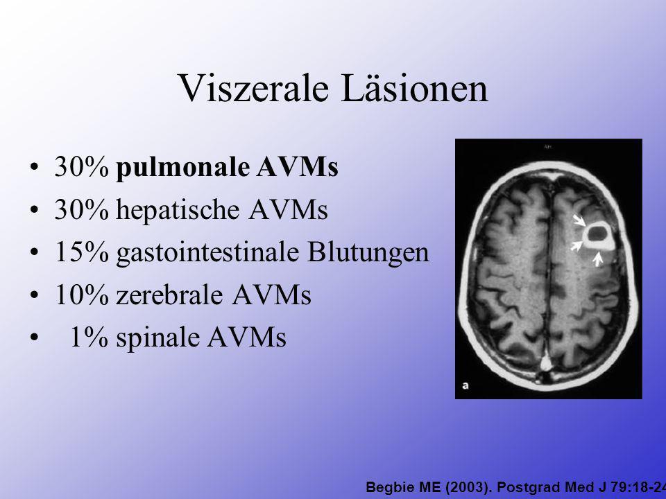 Viszerale Läsionen 30% pulmonale AVMs 30% hepatische AVMs 15% gastointestinale Blutungen 10% zerebrale AVMs 1% spinale AVMs Begbie ME (2003). Postgrad