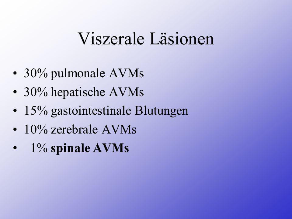 Viszerale Läsionen 30% pulmonale AVMs 30% hepatische AVMs 15% gastointestinale Blutungen 10% zerebrale AVMs 1% spinale AVMs