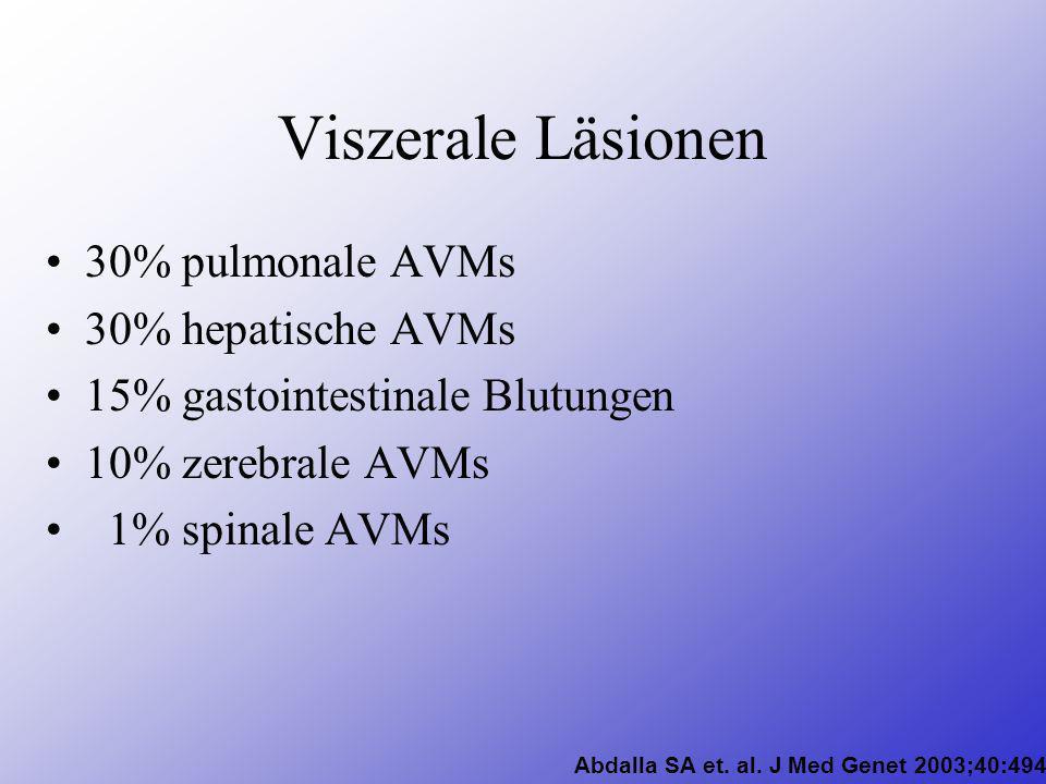 Viszerale Läsionen 30% pulmonale AVMs 30% hepatische AVMs 15% gastointestinale Blutungen 10% zerebrale AVMs 1% spinale AVMs Moussouttas M (2000).