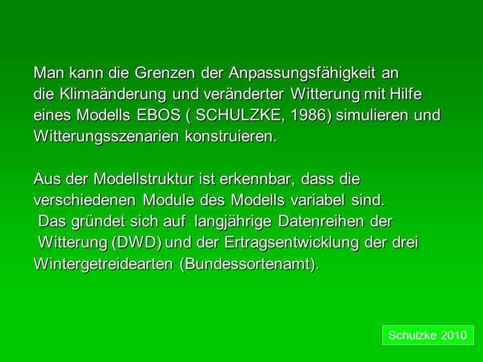 Man kann die Grenzen der Anpassungsfähigkeit an die Klimaänderung und veränderter Witterung mit Hilfe eines Modells EBOS ( SCHULZKE, 1986) simulieren und Witterungsszenarien konstruieren.