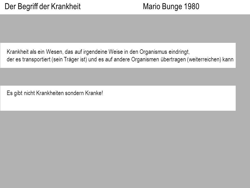 Der Begriff der Krankheit Mario Bunge 1980 Krankheit als ein Wesen, das auf irgendeine Weise in den Organismus eindringt, der es transportiert (sein T