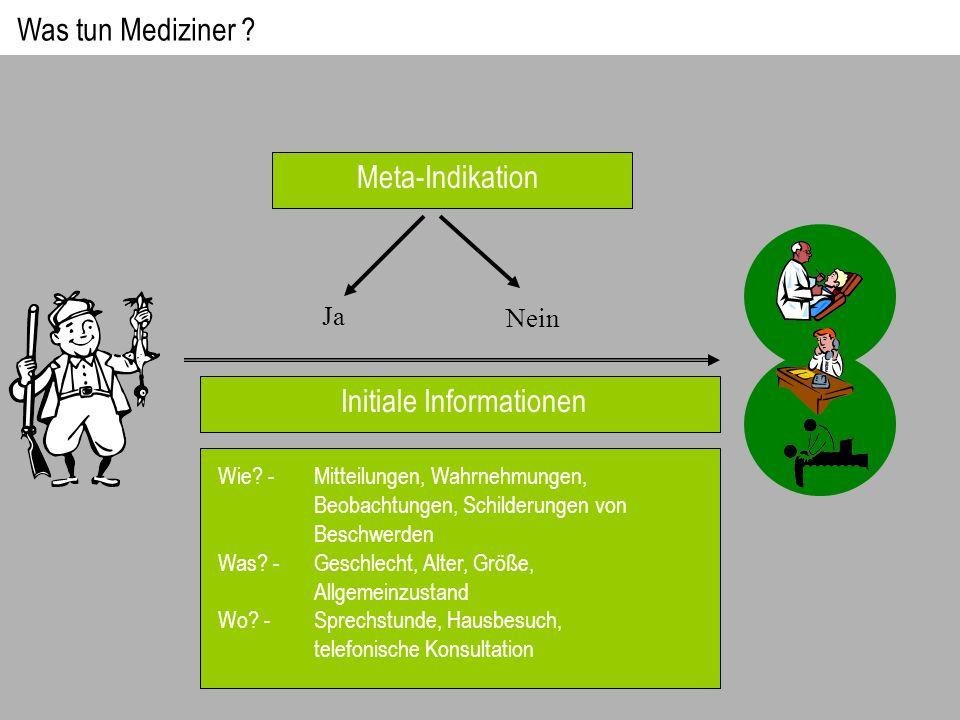 Meta-Indikation Ja Nein Initiale Informationen Wie? - Mitteilungen, Wahrnehmungen, Beobachtungen, Schilderungen von Beschwerden Was? -Geschlecht, Alte