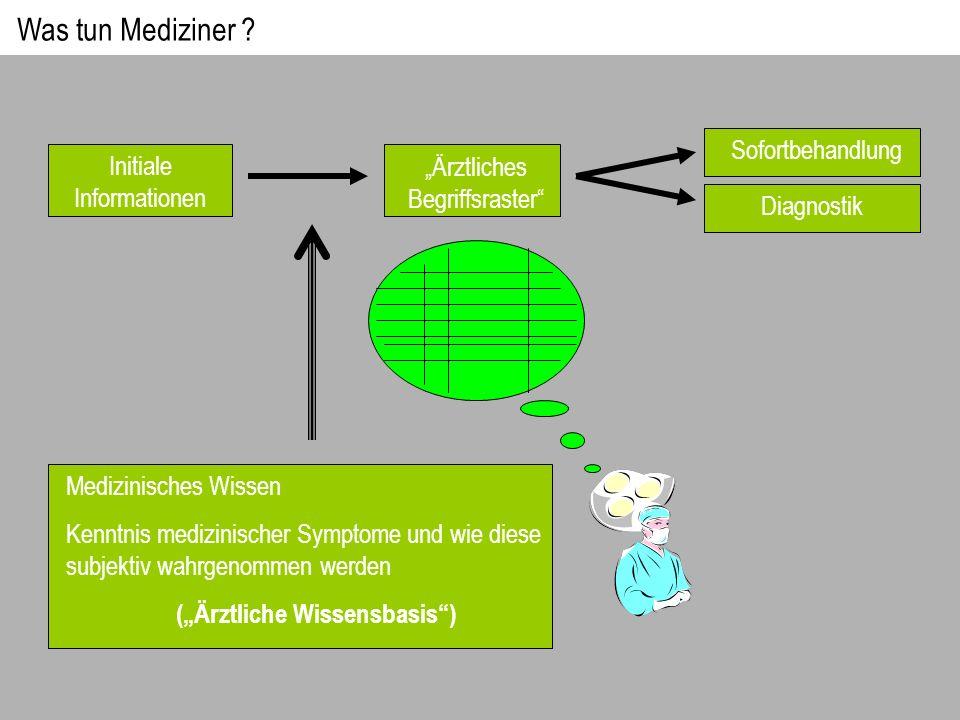 Initiale Informationen Ärztliches Begriffsraster Medizinisches Wissen Kenntnis medizinischer Symptome und wie diese subjektiv wahrgenommen werden (Ärz