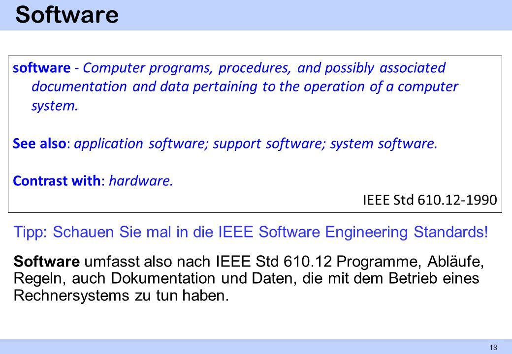 Software Tipp: Schauen Sie mal in die IEEE Software Engineering Standards! Software umfasst also nach IEEE Std 610.12 Programme, Abläufe, Regeln, auch
