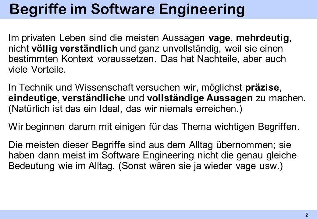 Begriffe im Software Engineering Im privaten Leben sind die meisten Aussagen vage, mehrdeutig, nicht völlig verständlich und ganz unvollständig, weil
