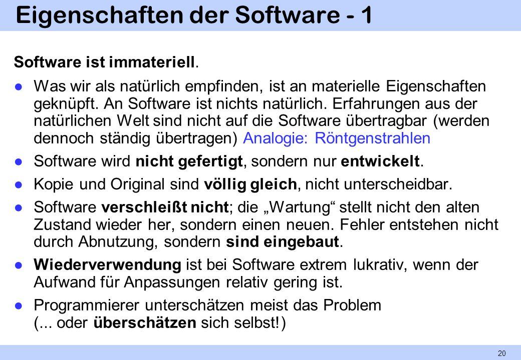 Eigenschaften der Software - 1 Software ist immateriell. Was wir als natürlich empfinden, ist an materielle Eigenschaften geknüpft. An Software ist ni