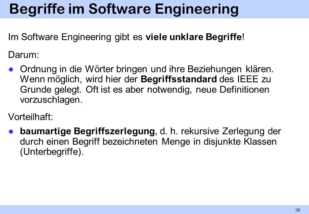 Begriffe im Software Engineering Im Software Engineering gibt es viele unklare Begriffe! Darum: Ordnung in die Wörter bringen und ihre Beziehungen klä